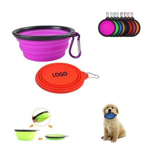 Silicone Folding Pet Feeding Travel Bowl With Carabiners